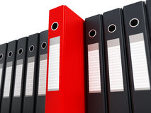 Red folder standing out from black folders. 3D illustration Royalty Free Stock Photos