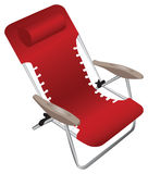 Red folding aluminium armchair with a pillow. Isolated against a white background Royalty Free Stock Photo