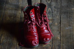 Red, folk shoes. Royalty Free Stock Photo