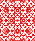 Red folklore patterns. Classical seamless textile patterns on white background. Abstract geometric patterned seamless background. Royalty Free Stock Photography