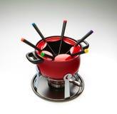 Red fondue. Set on gradient bakground Royalty Free Stock Photos