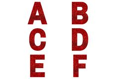 Red font Alphabet a, b, c, d, e, f made of red sparkle background.