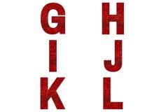 Red font Alphabet g, h, i, j, k, l made of red sparkle background.