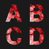 Red font illuminated with reflection effect on black background - set 1. Capital initial letter A, B, C, D for monograms and logos Royalty Free Stock Images