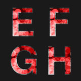 Red font illuminated with reflection effect on black background - set 2. Capital initial letter E, F, G, H, for monograms and logo Stock Photo