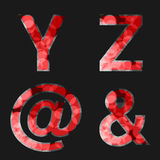 Red font illuminated with reflection effect on black background - set 7. Capital initial letter Y, Z, At, Ampersand, for monograms Royalty Free Stock Photography