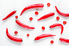 Red food with chili pepper on white background top view pattern Stock Photography