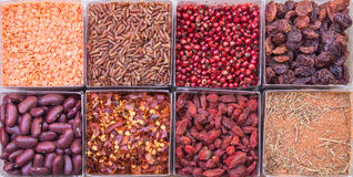 Red Food. Eight small squares of red food royalty free stock photos