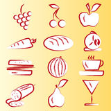 Red Food Icons Part 1 Stock Image