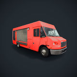 Red food truck. Red fast food truck on black background, template with copy space, clipping path royalty free stock photography