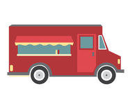 Red Food truck. Vector cartoon style Food truck red