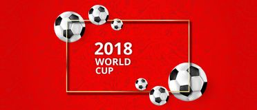 Red football background with soccer balls and symbolic ornament. Red football 2018 world cup background with soccer balls and symbolic ornament. Vector Royalty Free Stock Photos