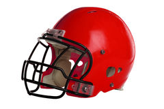 Red Football Helmet. Isolated over white background - With Clipping Path Stock Images