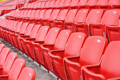 Red football seats Royalty Free Stock Photos