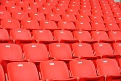 Red football seats Stock Photos