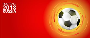 Football 2018 Russia background with soccer ball. Red football world cup 2018 Russia background with soccer ball. Vector sport illustration Royalty Free Stock Photo