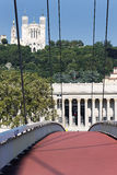 Red footbridge and basilica Royalty Free Stock Photo