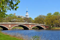 Red Footbridge and Blue Dome. Of Lowell House, Harvard University, over Charles River. Cambridge, Massachusetts royalty free stock photos