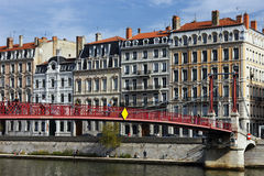 Red footbridge on the Saône in Lyon city Stock Photos