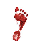 Red footprint. On the white background Royalty Free Stock Images