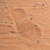 Red footstep on mars surface Stock Image