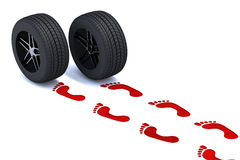 Red footsteps with tires Royalty Free Stock Image