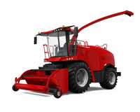 Red Forage Harvester. Isolated on white background. 3D render Royalty Free Stock Images