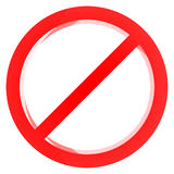Red forbidden sign. 3D render of a red forbidden sign Royalty Free Stock Photo