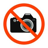 Red forbidden sign with camera behind it stock illustration
