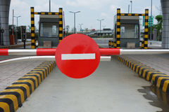 Red forbidden traffic sign. In highway toll station Royalty Free Stock Images