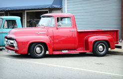 Red Ford Classic truck 1954 F100 Stock Photography