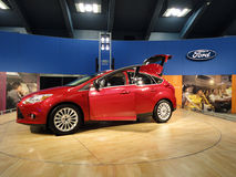 Red Ford Fiesta on display stock photo
