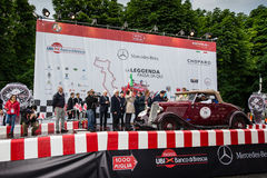 Red Ford Model B, 1933, starts the 1000 Miglia Royalty Free Stock Images