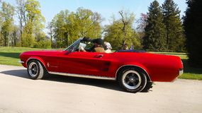 Red Ford Mustang, Vintage Classic Cars Ride Stock Photography