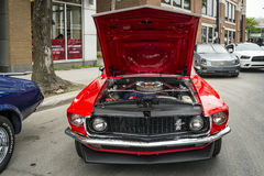 Red Ford Mustang stock images