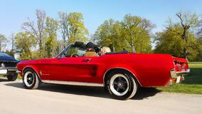 Red Ford Mustang, Vintage Classic Cars Ride Stock Photo