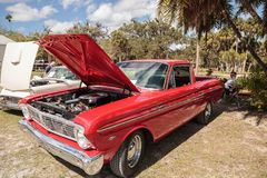 Red 1967 Ford Ranchero 289 at the 10th Annual Classic Car and Craft Show. Estero, Florida, USA - February 23, 2019: Red 1967 Ford Ranchero 289 at the 10th Annual royalty free stock photos