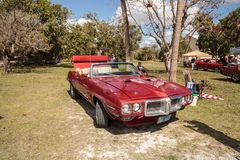 Red 1967 Ford Ranchero 289 at the 10th Annual Classic Car and Craft Show. Estero, Florida, USA - February 23, 2019: Red 1967 Ford Ranchero 289 at the 10th Annual stock photography