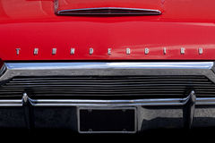 Red Ford Thunderbird Car hood with lights Royalty Free Stock Photography