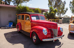 Red 1940 Ford Woody Stock Photo