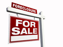 Red Foreclosure Real Estate Sign on White. stock photography