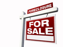 Red Foreclosure Real Estate Sign on White. royalty free stock images