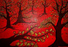 Red forest abstract painting on canvas created background design. As abstract wallpaper stock image