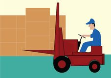 Red forklift Stock Images