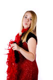 Red formal and boa kissy face Stock Images