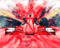 Red formula one car - color explosion. Red formula one car - bright color explosion vector illustration