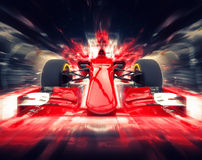 Red formula one car - colorful super zoom. Effect royalty free illustration