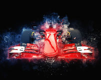Red formula one car - modern trash style illustration. On dark background royalty free illustration