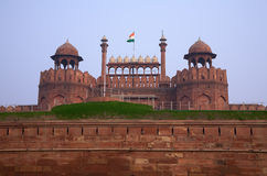 Red fort. Antique indian red fort in Delhi with flag Stock Photo