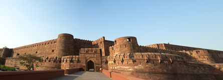 Red Fort in Agra, India Panorama, Travel to Asia. The Red Agra Fort in India. The fortification is a popular tourist attraction in Asia for people on vacation or Royalty Free Stock Images